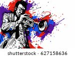 jazz trumpet player with color... | Shutterstock .eps vector #627158636
