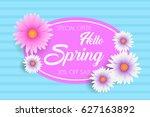 hello spring  card design  sale ... | Shutterstock .eps vector #627163892