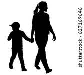 silhouette of happy family on a ... | Shutterstock . vector #627169646