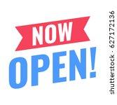 now open  vector ribbon flat... | Shutterstock .eps vector #627172136