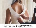 bridal morning  bride wears...   Shutterstock . vector #627176726