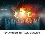 2d rendering global currencies... | Shutterstock . vector #627180296