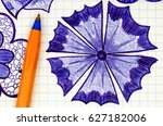 close up of hand drawn flower... | Shutterstock . vector #627182006