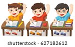 children sitting at school desk ... | Shutterstock .eps vector #627182612