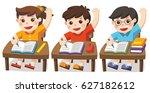 children sitting at school desk ... | Shutterstock .eps vector #627182612