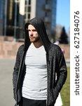 man sport fashion  bearded guy... | Shutterstock . vector #627184076