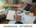business team analyzing... | Shutterstock . vector #627189632