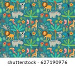 seamless pattern jungle animals  | Shutterstock .eps vector #627190976
