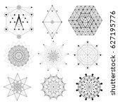 set of sacred geometry  ... | Shutterstock .eps vector #627195776