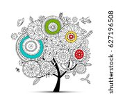 floral tree for your design | Shutterstock .eps vector #627196508