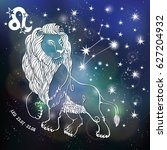 leo zodiac sign.lion horoscope... | Shutterstock . vector #627204932
