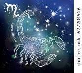 scorpio zodiac sign. horoscope... | Shutterstock . vector #627204956