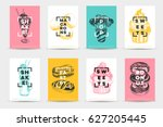 vector hand drawn set of trendy ... | Shutterstock .eps vector #627205445