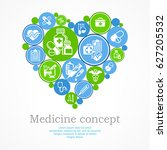 medical icons heart concept ... | Shutterstock .eps vector #627205532