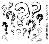 question marks in the doodle... | Shutterstock .eps vector #627207776