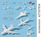 various passenger airplanes and ... | Shutterstock .eps vector #627207818