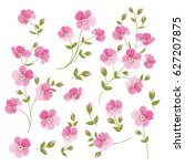 set of linen flowers elements.... | Shutterstock . vector #627207875