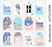 retro design summer sale tags...   Shutterstock .eps vector #627214598
