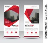 red roll up business brochure... | Shutterstock .eps vector #627215036