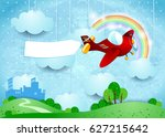 surreal landscape with small... | Shutterstock .eps vector #627215642