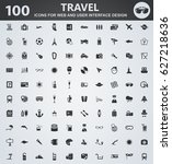 travel icons for web and user