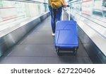 traveler pull suitcase walking... | Shutterstock . vector #627220406