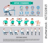 infographic office syndrome... | Shutterstock .eps vector #627222815