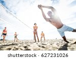 group of friends playing beach... | Shutterstock . vector #627231026