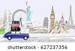 around the world. blue retro... | Shutterstock . vector #627237356