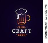 beer neon sign  bright... | Shutterstock .eps vector #627239798