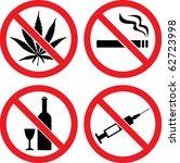 "Forbidding  Vector Signs ""No Smoking"", ""No Drugs"", ""No Cannabis""  and ""No Alcohol"""