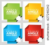 origami angle paper banners.... | Shutterstock .eps vector #627240242