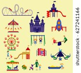 amusement park  and playground... | Shutterstock .eps vector #627241166