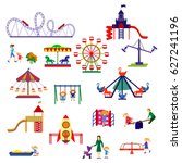 amusement park  and playground... | Shutterstock .eps vector #627241196