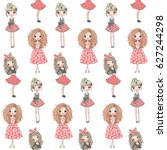 cartoon seamless pattern with... | Shutterstock .eps vector #627244298