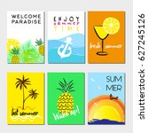summer cards and banners... | Shutterstock .eps vector #627245126