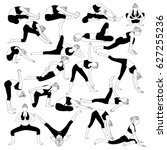 set of exercises for stretching ... | Shutterstock .eps vector #627255236