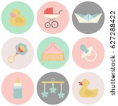 vector illustration of baby and ... | Shutterstock .eps vector #627288422