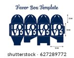 wedding favor box laser cut... | Shutterstock .eps vector #627289772