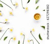 round frame with white flower... | Shutterstock . vector #627298382