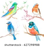 set of watercolor birds in... | Shutterstock . vector #627298988