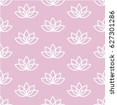 white lotus on a pink... | Shutterstock . vector #627301286