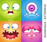 cartoon monster faces | Shutterstock .eps vector #627303416