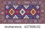 colorful mosaic oriental kazak... | Shutterstock .eps vector #627308132