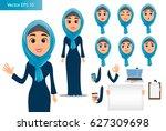 arabic woman constructor set.... | Shutterstock .eps vector #627309698
