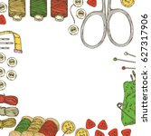 Frame With Sewing Supplies And...