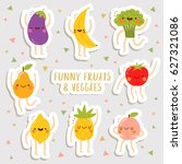 set of cute stickers sheet with ... | Shutterstock .eps vector #627321086