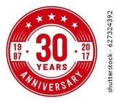 30 years anniversary logo... | Shutterstock .eps vector #627324392