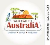 australia features header text... | Shutterstock .eps vector #627327155