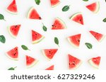 watermelon pattern. sliced... | Shutterstock . vector #627329246